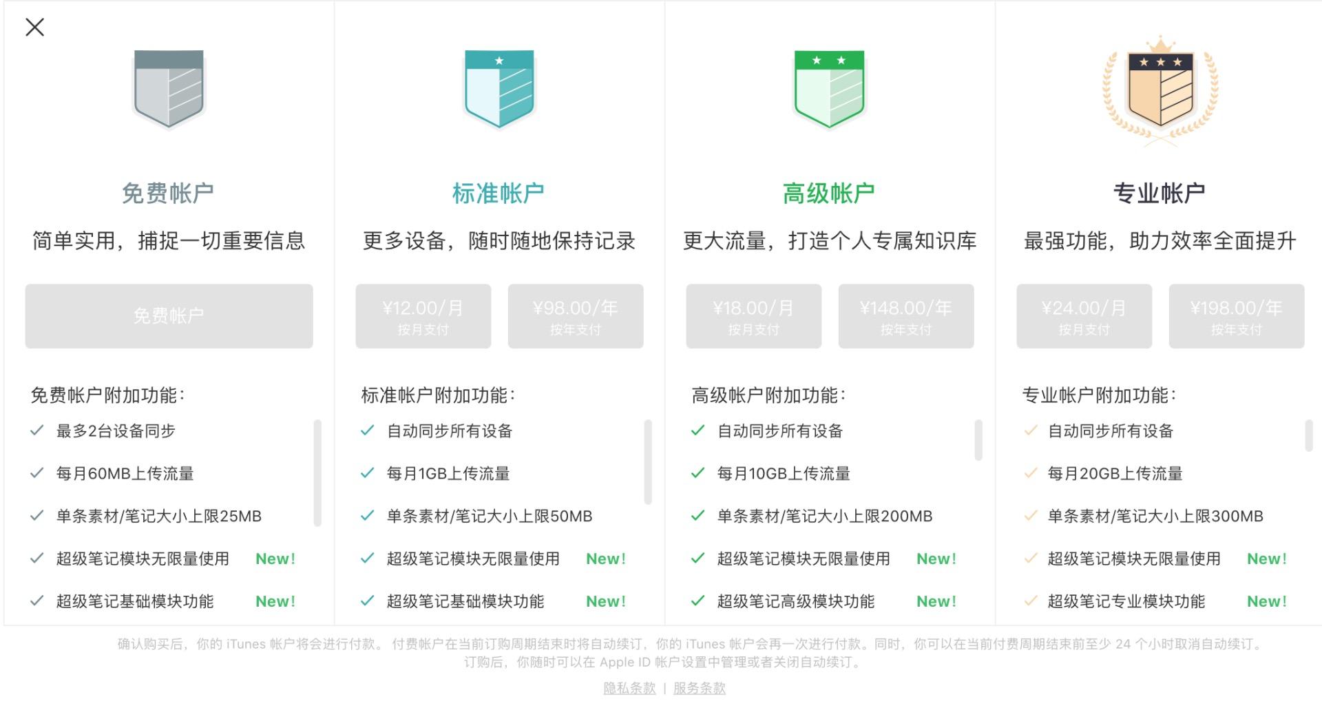 3种印象笔记付费帐户,哪个更值得入手?